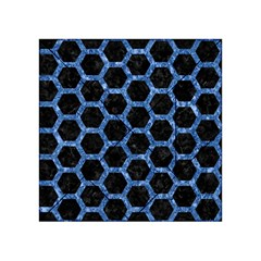 Hexagon2 Black Marble & Blue Marble (r) Acrylic Tangram Puzzle (4  X 4 ) by trendistuff