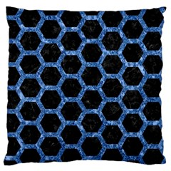 Hexagon2 Black Marble & Blue Marble (r) Standard Flano Cushion Case (one Side) by trendistuff