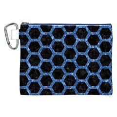 Hexagon2 Black Marble & Blue Marble (r) Canvas Cosmetic Bag (xxl) by trendistuff