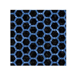 Hexagon2 Black Marble & Blue Marble (r) Small Satin Scarf (square)