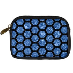 Hexagon2 Black Marble & Blue Marble Digital Camera Leather Case by trendistuff