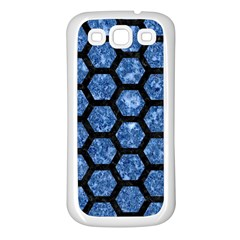 Hexagon2 Black Marble & Blue Marble Samsung Galaxy S3 Back Case (white) by trendistuff