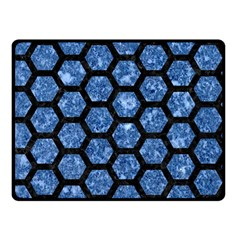 Hexagon2 Black Marble & Blue Marble Double Sided Fleece Blanket (small) by trendistuff
