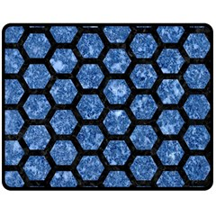 Hexagon2 Black Marble & Blue Marble Double Sided Fleece Blanket (medium) by trendistuff
