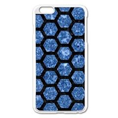 Hexagon2 Black Marble & Blue Marble Apple Iphone 6 Plus/6s Plus Enamel White Case by trendistuff