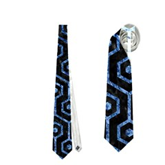 Hexagon1 Black Marble & Blue Marble (r) Necktie (one Side)
