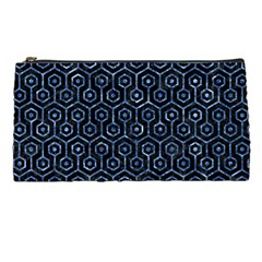 Hexagon1 Black Marble & Blue Marble (r) Pencil Case by trendistuff