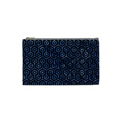 Hexagon1 Black Marble & Blue Marble (r) Cosmetic Bag (small) by trendistuff