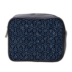 Hexagon1 Black Marble & Blue Marble (r) Mini Toiletries Bag (two Sides) by trendistuff
