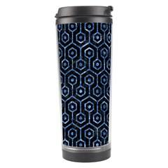 Hexagon1 Black Marble & Blue Marble (r) Travel Tumbler by trendistuff