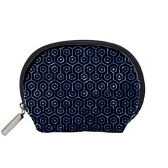 Hexagon1 Black Marble & Blue Marble (r) Accessory Pouch (small) by trendistuff