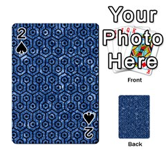 Hexagon1 Black Marble & Blue Marble Playing Cards 54 Designs