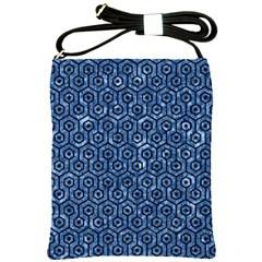 Hexagon1 Black Marble & Blue Marble Shoulder Sling Bag by trendistuff