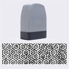 Hexagon1 Black Marble & Blue Marble Name Stamp by trendistuff