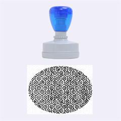 Hexagon1 Black Marble & Blue Marble Rubber Stamp Oval