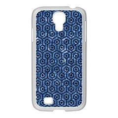 Hexagon1 Black Marble & Blue Marble Samsung Galaxy S4 I9500/ I9505 Case (white) by trendistuff