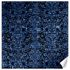 Damask2 Black Marble & Blue Marble (r) Canvas 16  X 16  by trendistuff
