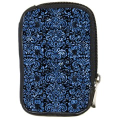 Damask2 Black Marble & Blue Marble (r) Compact Camera Leather Case by trendistuff