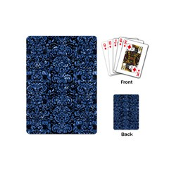Damask2 Black Marble & Blue Marble (r) Playing Cards (mini) by trendistuff