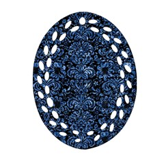Damask2 Black Marble & Blue Marble (r) Oval Filigree Ornament (two Sides) by trendistuff