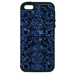 Damask2 Black Marble & Blue Marble (r) Apple Iphone 5 Hardshell Case (pc+silicone) by trendistuff