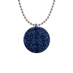 Damask2 Black Marble & Blue Marble 1  Button Necklace by trendistuff