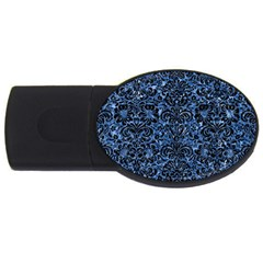 Damask2 Black Marble & Blue Marble Usb Flash Drive Oval (4 Gb) by trendistuff