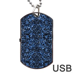 Damask2 Black Marble & Blue Marble Dog Tag Usb Flash (one Side) by trendistuff
