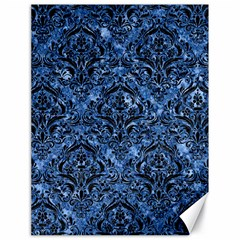 Damask1 Black Marble & Blue Marble (r) Canvas 18  X 24  by trendistuff
