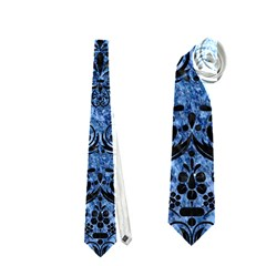 Damask1 Black Marble & Blue Marble (r) Necktie (one Side) by trendistuff