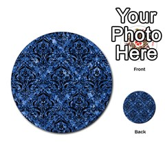 Damask1 Black Marble & Blue Marble (r) Multi Purpose Cards (round) by trendistuff