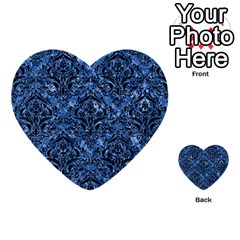 Damask1 Black Marble & Blue Marble (r) Multi Purpose Cards (heart) by trendistuff