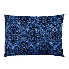 Damask1 Black Marble & Blue Marble (r) Pillow Case by trendistuff