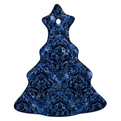 Damask1 Black Marble & Blue Marble (r) Ornament (christmas Tree)  by trendistuff