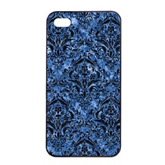 Damask1 Black Marble & Blue Marble (r) Apple Iphone 4/4s Seamless Case (black) by trendistuff