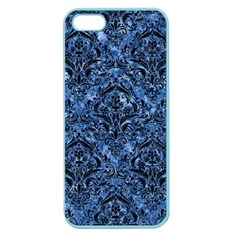 Damask1 Black Marble & Blue Marble (r) Apple Seamless Iphone 5 Case (color) by trendistuff