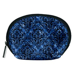 Damask1 Black Marble & Blue Marble (r) Accessory Pouch (medium) by trendistuff