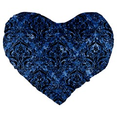 Damask1 Black Marble & Blue Marble (r) Large 19  Premium Flano Heart Shape Cushion by trendistuff