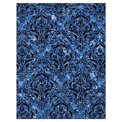 Damask1 Black Marble & Blue Marble (r) Drawstring Bag (large) by trendistuff