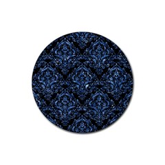 Damask1 Black Marble & Blue Marble Rubber Coaster (round) by trendistuff