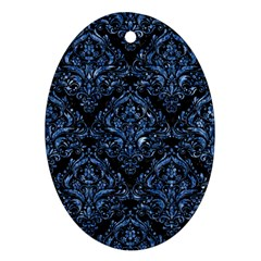 Damask1 Black Marble & Blue Marble Oval Ornament (two Sides) by trendistuff