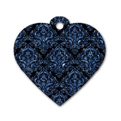 Damask1 Black Marble & Blue Marble Dog Tag Heart (one Side) by trendistuff