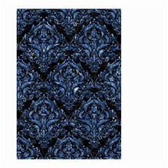 Damask1 Black Marble & Blue Marble Small Garden Flag (two Sides) by trendistuff