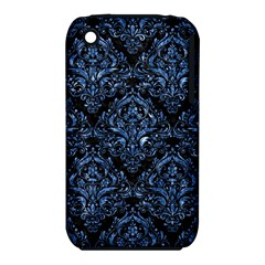 Damask1 Black Marble & Blue Marble Apple Iphone 3g/3gs Hardshell Case (pc+silicone) by trendistuff