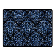 Damask1 Black Marble & Blue Marble Double Sided Fleece Blanket (small) by trendistuff