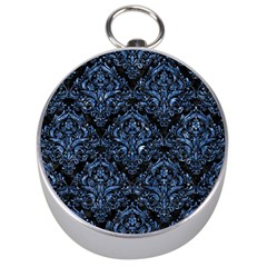 Damask1 Black Marble & Blue Marble Silver Compass by trendistuff