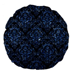 Damask1 Black Marble & Blue Marble Large 18  Premium Flano Round Cushion  by trendistuff