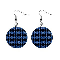 Diamond1 Black Marble & Blue Marble 1  Button Earrings by trendistuff
