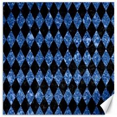 Diamond1 Black Marble & Blue Marble Canvas 20  X 20  by trendistuff