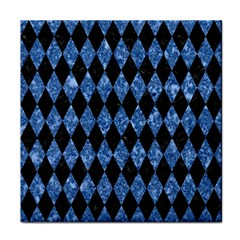 Diamond1 Black Marble & Blue Marble Face Towel by trendistuff